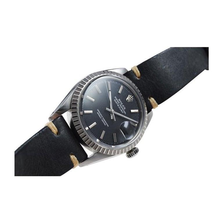 Rolex Stainless Steel Datejust Black Dial Jubilee Bracelet, Early 1970's For Sale 4