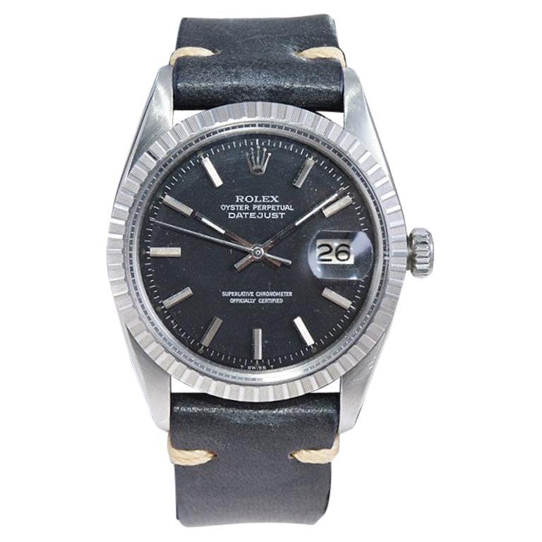 Rolex Stainless Steel Datejust Black Dial Jubilee Bracelet, Early 1970's For Sale