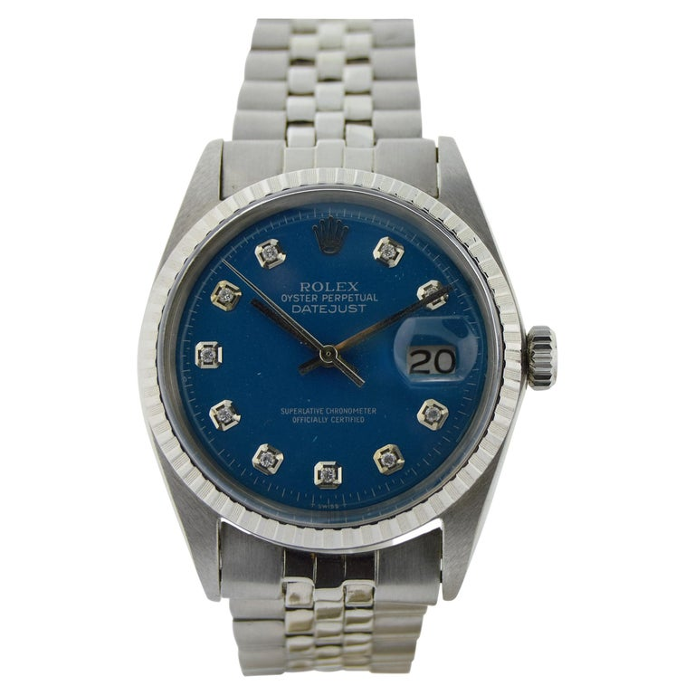 Rolex Stainless Steel Datejust Blue Diamond Dial Watch, circa 1970s For Sale