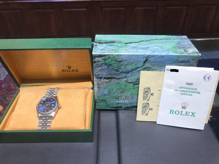 Rolex Stainless Steel Datejust Blue Diamond Dial Wristwatch, circa 2000 In Excellent Condition For Sale In New Orleans, LA