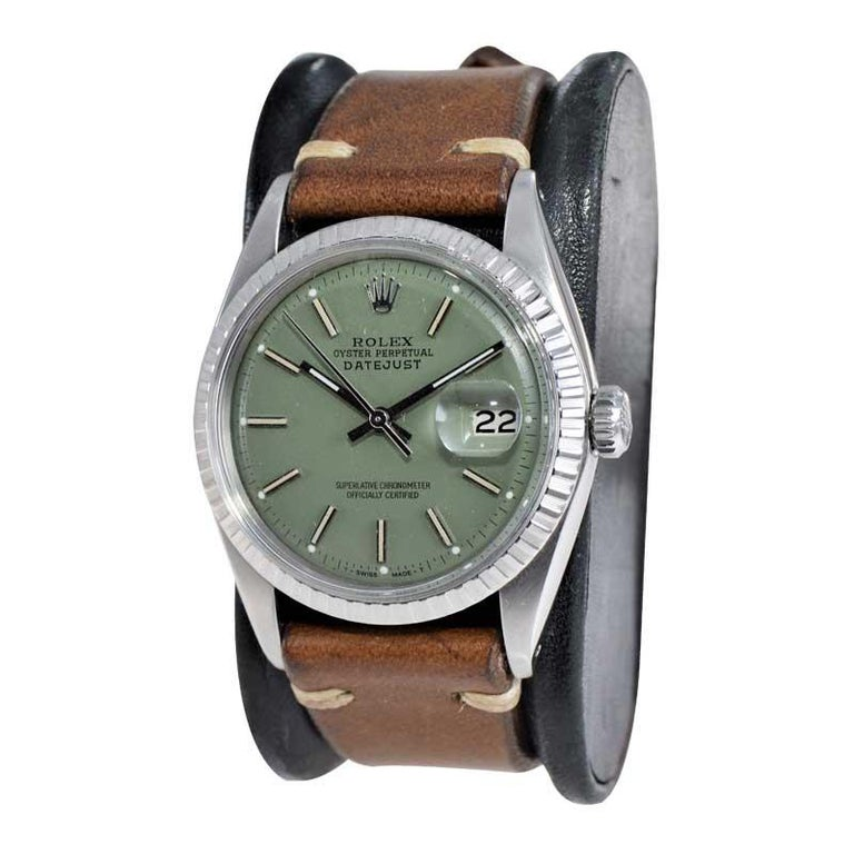 Modernist Rolex Stainless Steel Datejust Custom Finished Green Dial, Circa 1970's For Sale