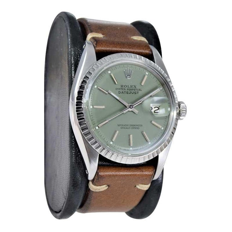 Rolex Stainless Steel Datejust Custom Finished Green Dial, Circa 1970's In Excellent Condition For Sale In Long Beach, CA
