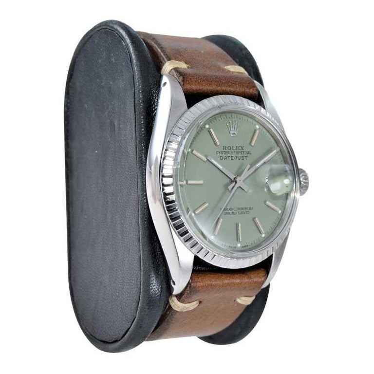 Women's or Men's Rolex Stainless Steel Datejust Custom Finished Green Dial, Circa 1970's For Sale