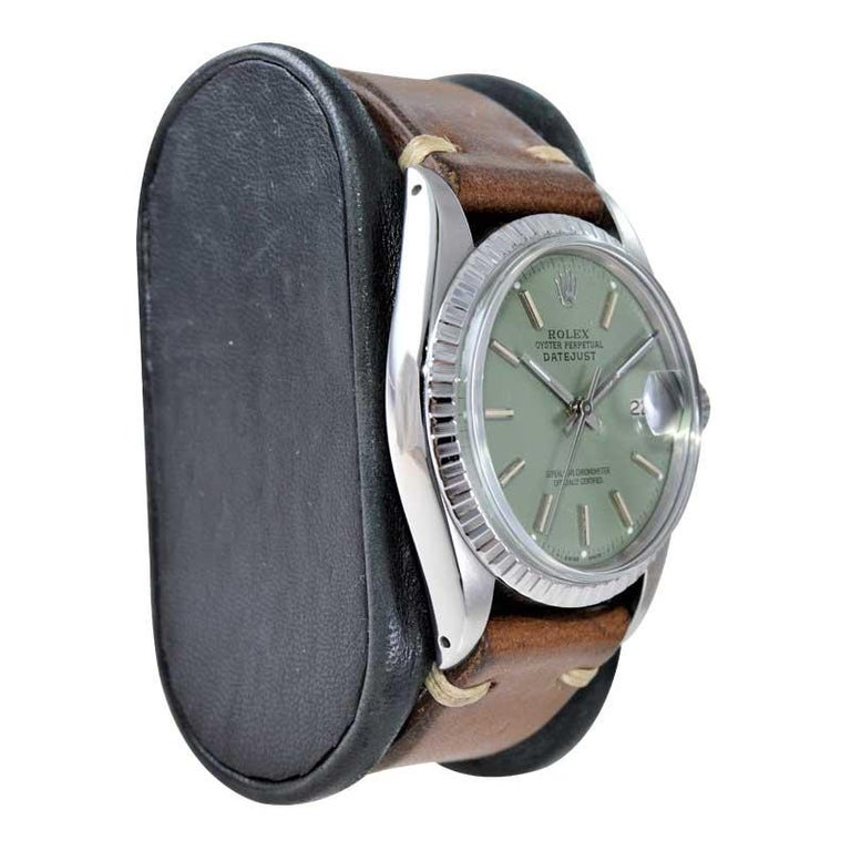 Rolex Stainless Steel Datejust Custom Finished Green Dial, Circa 1970's For Sale 1