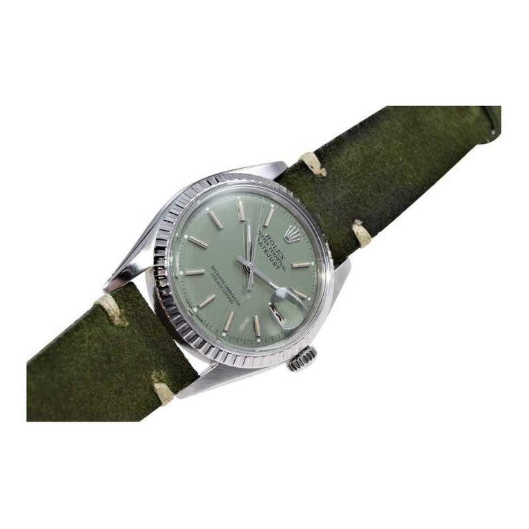 Rolex Stainless Steel Datejust Custom Finished Dial, Circa 1970's For Sale 2