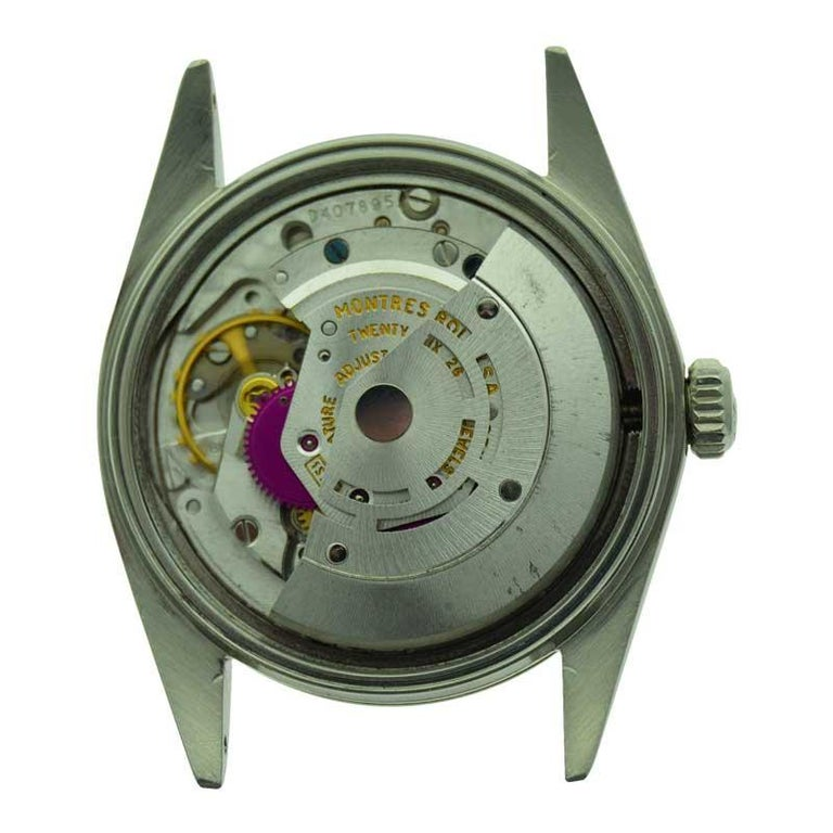 Rolex Stainless Steel Datejust Custom Finished Dial, Circa 1970's For Sale 4