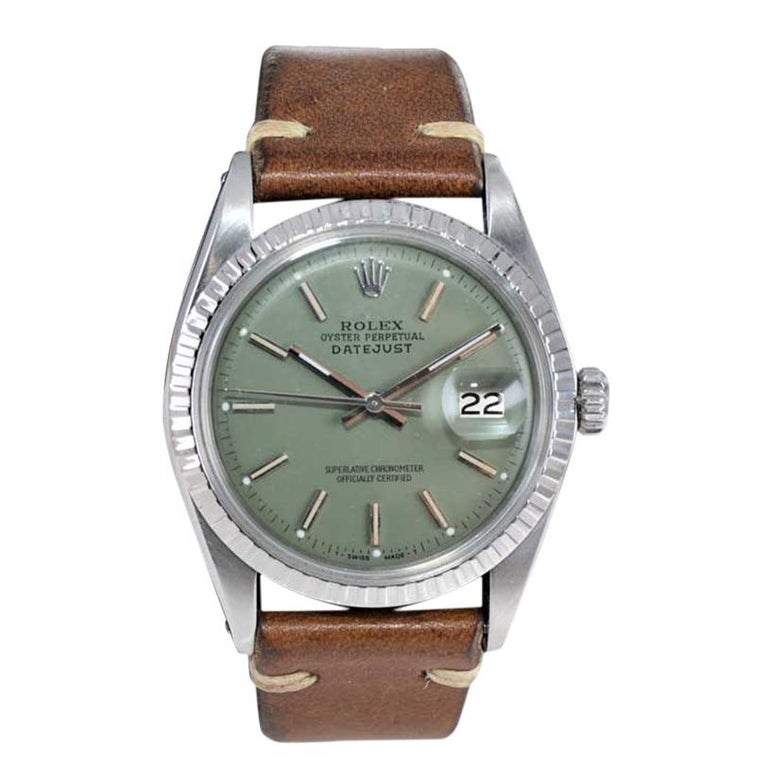 Rolex Stainless Steel Datejust Custom Finished Green Dial, Circa 1970's For Sale