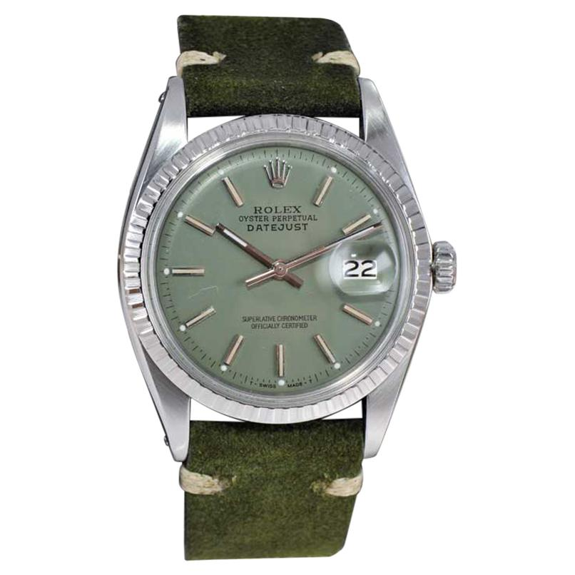 Rolex Stainless Steel Datejust Custom Finished Dial, Circa 1970's