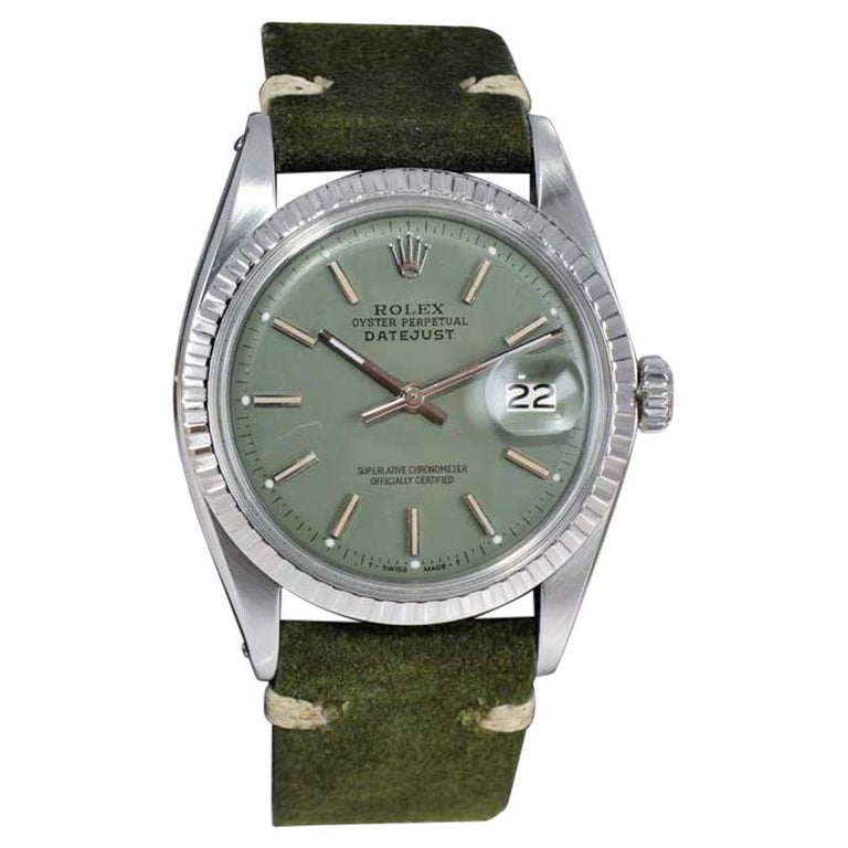 Rolex Stainless Steel Datejust Custom Finished Dial, Circa 1970's For Sale