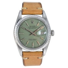 Rolex Stainless Steel Datejust Custom Finished Green Dial, Circa 1970's