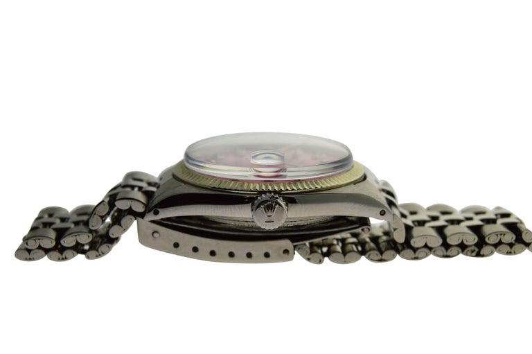 Rolex Stainless Steel Datejust Custom Pink Diamond Dial Wristwatch 1