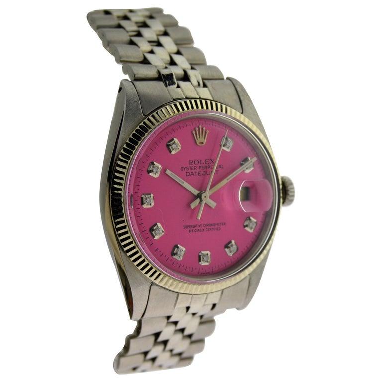 Rolex Stainless Steel Datejust Custom Pink Diamond Dial Wristwatch