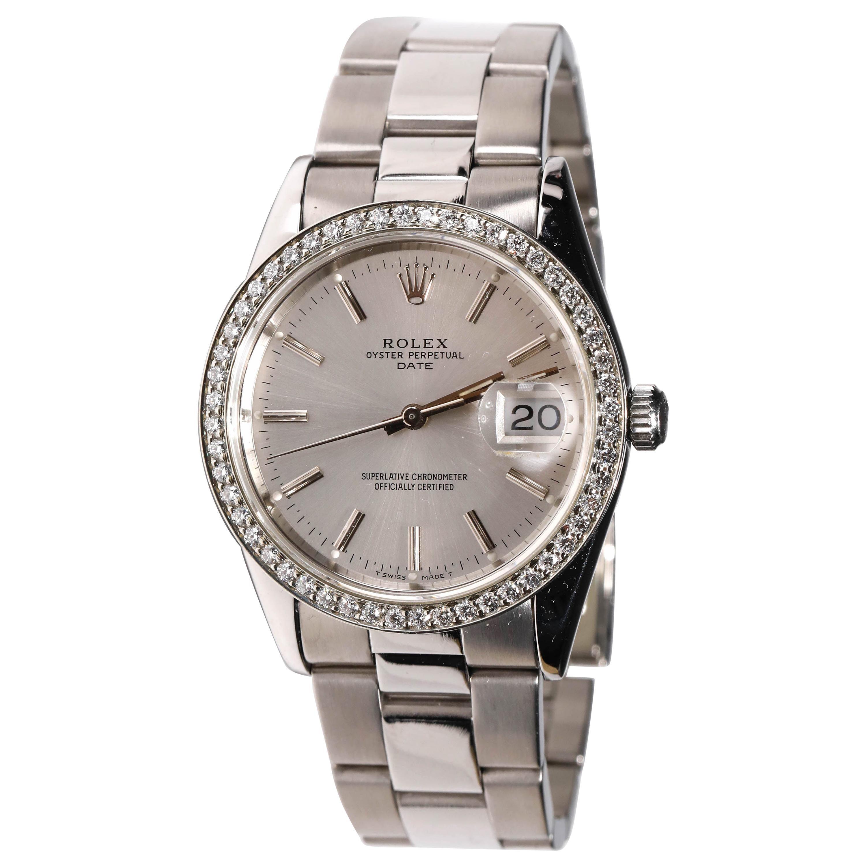 Rolex Stainless Steel Datejust Diamond Bezel Automatic Wristwatch Men's