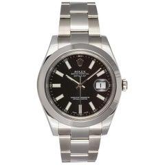 Rolex Edelstahl Datejust II schwarzes Zifferblatt 116300