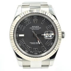 Rolex Stainless Steel Datejust II Black Dial Oyster Automatic Wristwatch