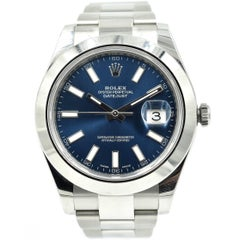 Rolex Stainless Steel Datejust II Blue Dial Oyster Automatic Wristwatch