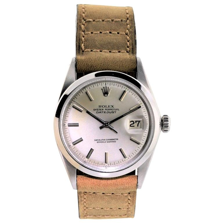 Rolex Stainless Steel Datejust Perpetual Wind Watch For Sale