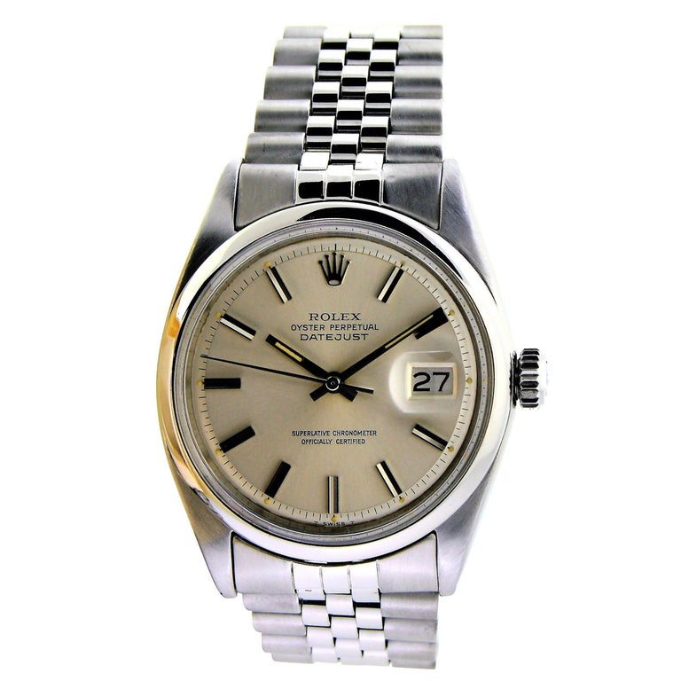 Rolex Stainless Steel Datejust Polished Bezel Watch, circa 1969 or 1970 For Sale
