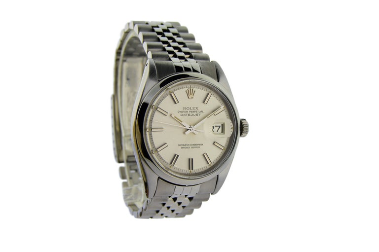 FACTORY / HOUSE: Rolex Watch Company STYLE / REFERENCE: Oyster Perpetual Datejust / Ref. 1603 METAL / MATERIAL: Stainless Steel  DIMENSIONS:  44mm  X  36mm CIRCA: 1968/69 MOVEMENT / CALIBER: Perpetual / 1570 DIAL / HANDS: Original Silvered w/ Batons