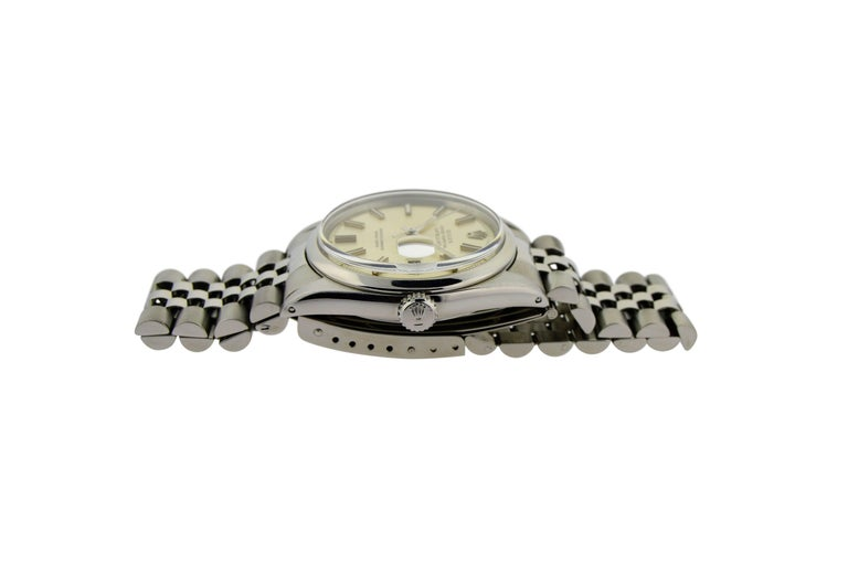 Rolex Stainless Steel Datejust Polished Bezel Watch, circa 1969 or 1970 In Excellent Condition For Sale In Venice, CA