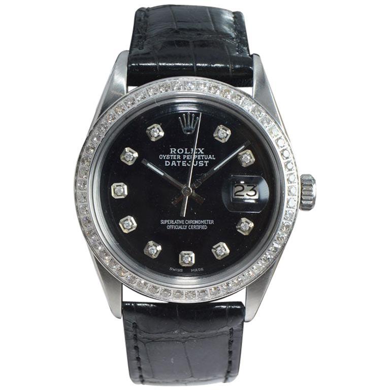Rolex Stainless Steel Datejust Ref. 1601 Custom Diamond Dial, circa 1970s