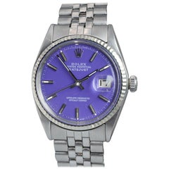 Rolex Stainless Steel Datejust Ref 1601 Custom Purple Dial,  Early 1970's