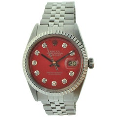 Rolex Stainless Steel Datejust Ref 1603 Custom Red Diamond Dial, Dated 1977