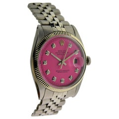 Rolex Stainless Steel Datejust Replacement Pink Diamond Dial Wristwatch