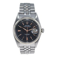 """Rolex Stainless Steel Early and Rare """"Big Bubble"""" Datejust from 1953"""