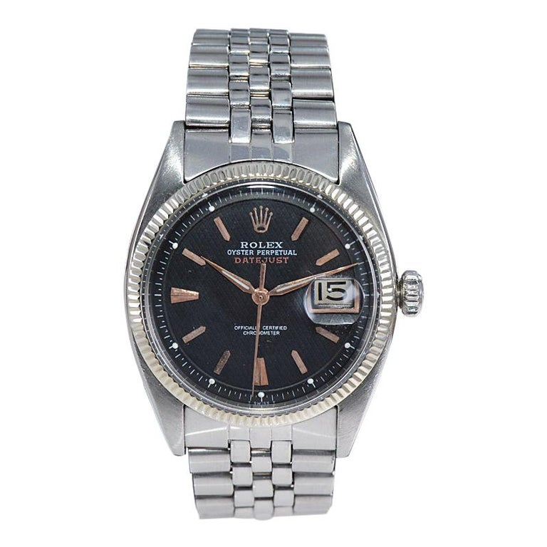 """Rolex Stainless Steel Early and Rare """"Big Bubble"""" Datejust from 1953 For Sale"""