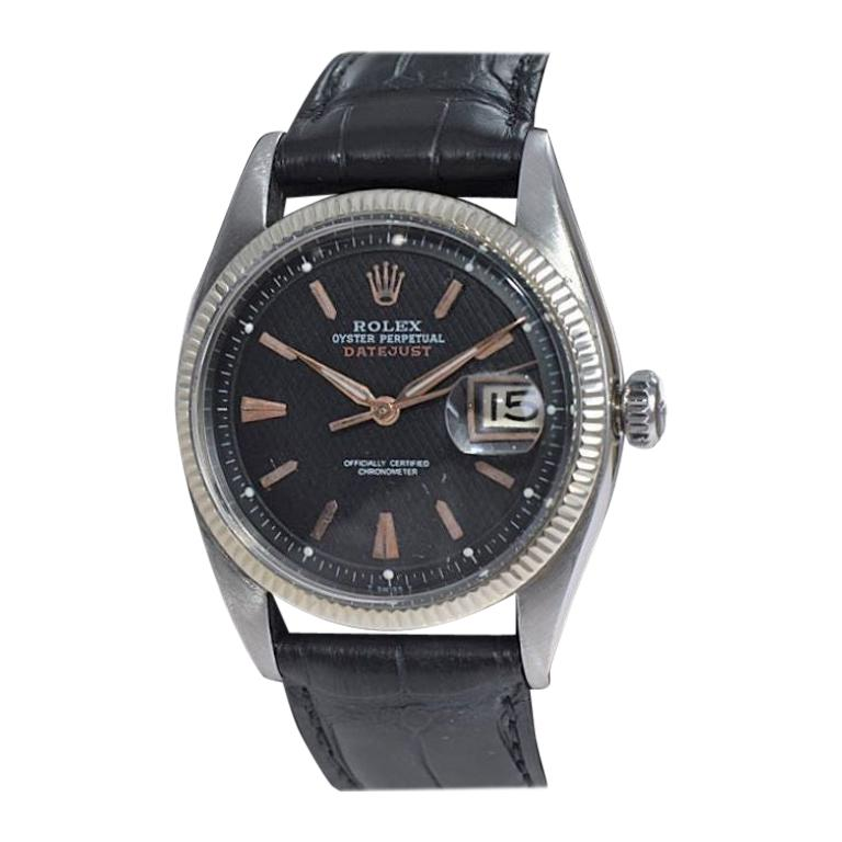 """Rolex Stainless Steel Early and Rare Datejust """"Big Bubble"""" from 1953 For Sale"""