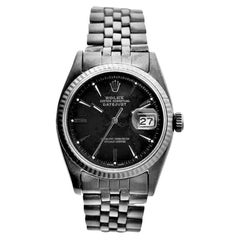 Rolex Stainless Steel Early Datejust with Carbonized Finish from 1959