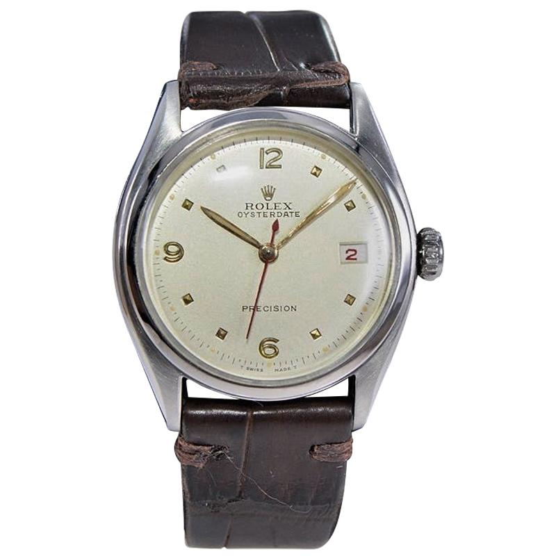 Rolex Stainless Steel Early Oyster Date Rare Super Oyster Crown Watch, 1951