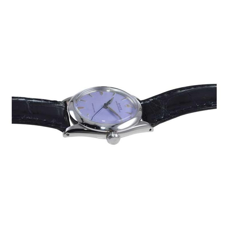 Women's or Men's Rolex Stainless Steel Mid Size Oyster Speedking Custom Lavender Dial, 1960's For Sale
