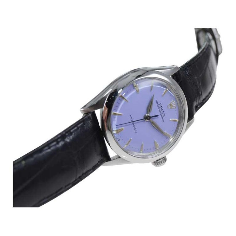 Rolex Stainless Steel Mid Size Oyster Speedking Custom Lavender Dial, 1960's For Sale 1