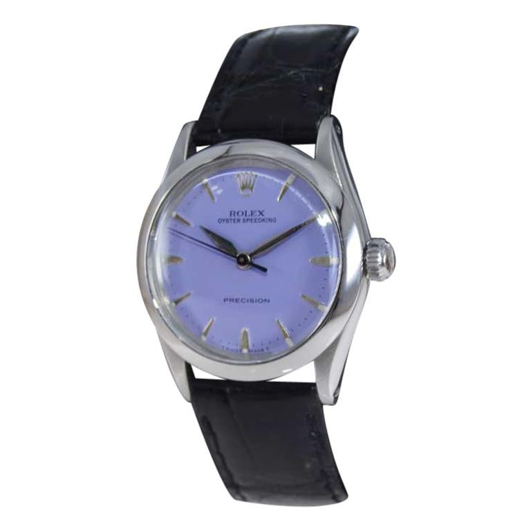 Rolex Stainless Steel Mid Size Oyster Speedking Custom Lavender Dial, 1960's For Sale