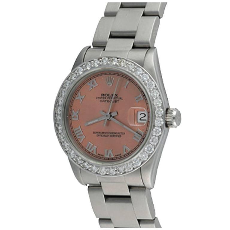 Rolex Stainless Steel Datejust Diamond Bezel Automatic Wristwatch Ref 68240