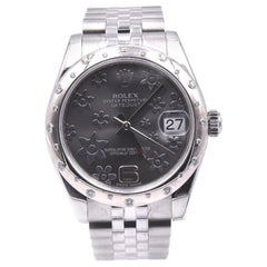 Rolex Stainless Steel Midsize Datejust with Silver Diamond Dial and Sprinkled Di