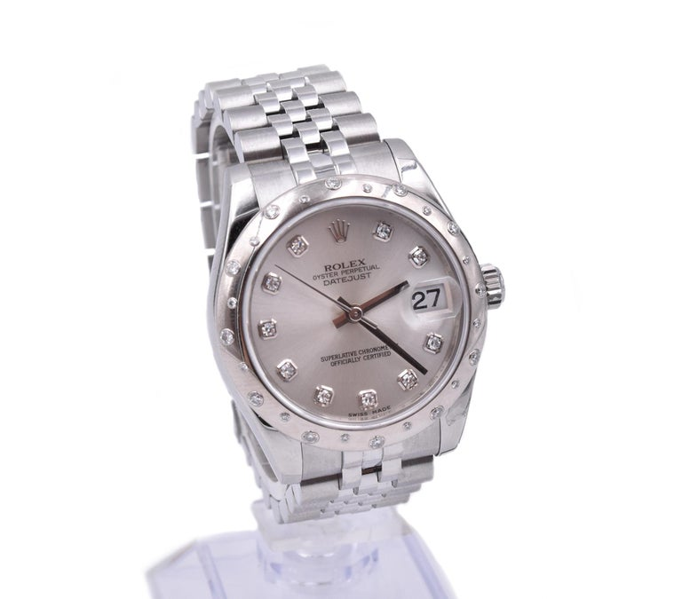 Rolex Stainless Steel Midsize Datejust with Silver Diamond Dial and Sprinkled In Excellent Condition For Sale In Scottsdale, AZ