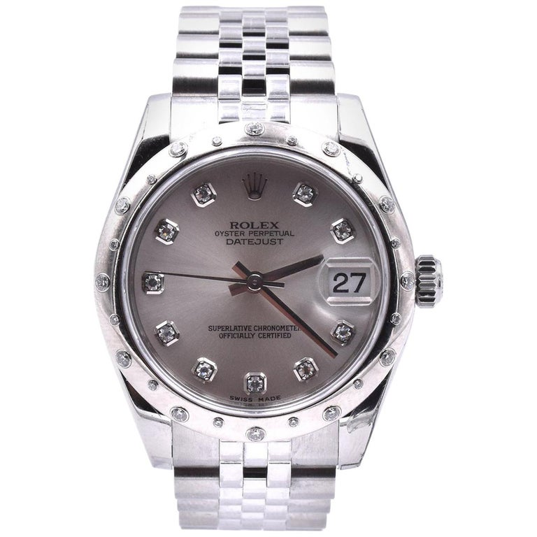 Rolex Stainless Steel Midsize Datejust with Silver Diamond Dial and Sprinkled For Sale