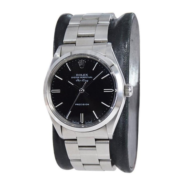 FACTORY / HOUSE: Rolex Watch Co. STYLE / REFERENCE: Oyster Perpetual Air King / Ref 5500 METAL / MATERIAL: Stainless Steel CIRCA / YEAR: 1977-78 DIMENSIONS / SIZE: 40mm x 34mm MOVEMENT / CALIBER: Perpetual Winding / 26 Jewels  DIAL / HANDS: Black