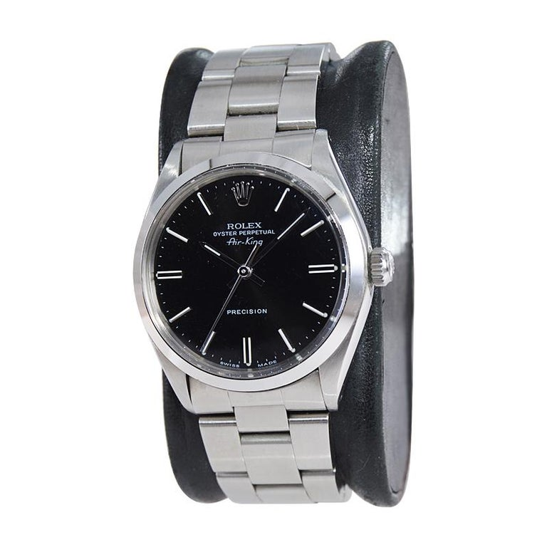 Modern Rolex Stainless Steel Oyster Perpetual Air King Original Black Dial with Papers For Sale