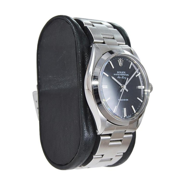 Women's or Men's Rolex Stainless Steel Oyster Perpetual Air King Original Black Dial with Papers For Sale