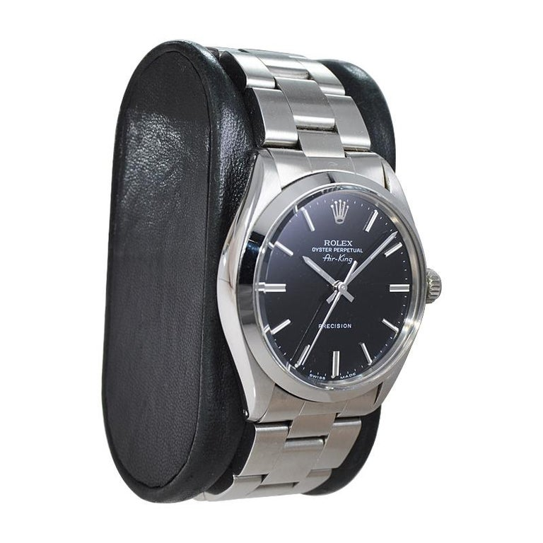 Rolex Stainless Steel Oyster Perpetual Air King Original Black Dial with Papers For Sale 1