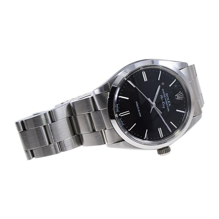 Rolex Stainless Steel Oyster Perpetual Air King Original Black Dial with Papers For Sale 3