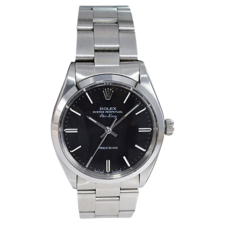 Rolex Stainless Steel Oyster Perpetual Air King Original Black Dial with Papers For Sale