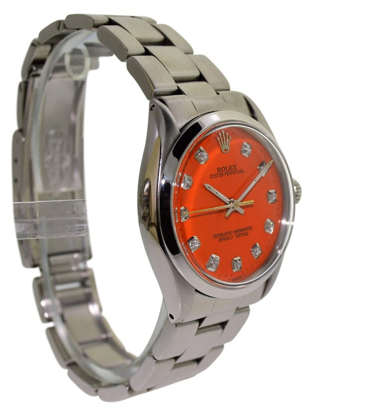 Women's or Men's Rolex Stainless Steel Oyster Perpetual Custom Dial Perpetual Watch, circa 1970s For Sale