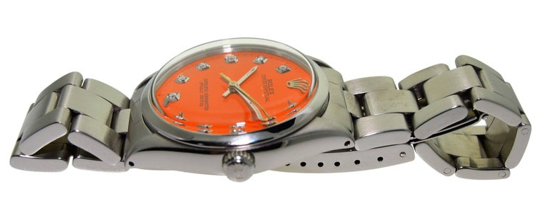Rolex Stainless Steel Oyster Perpetual Custom Dial Perpetual Watch, circa 1970s For Sale 1
