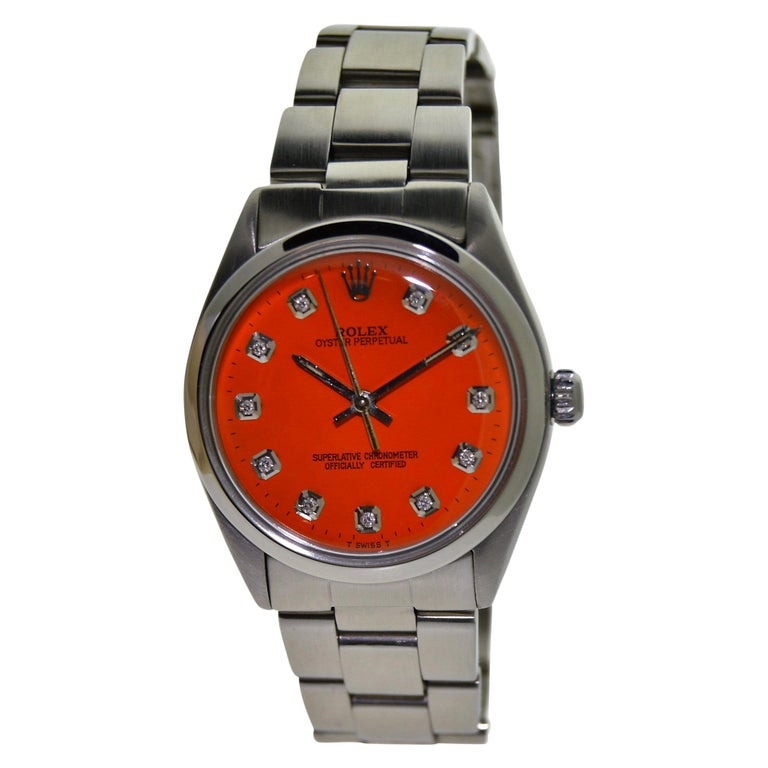Rolex Stainless Steel Oyster Perpetual Custom Dial Perpetual Watch, circa 1970s For Sale