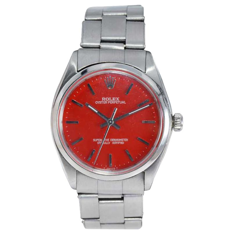 Rolex Stainless Steel Oyster Perpetual Custom Finished Red Dial, Early 1960's